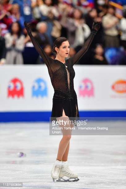 EvgeniaMedvedeva of Russia applauds fans after competing in the Ladies Free Skating on day three of the 2019 ISU World Figure Skating Championships...