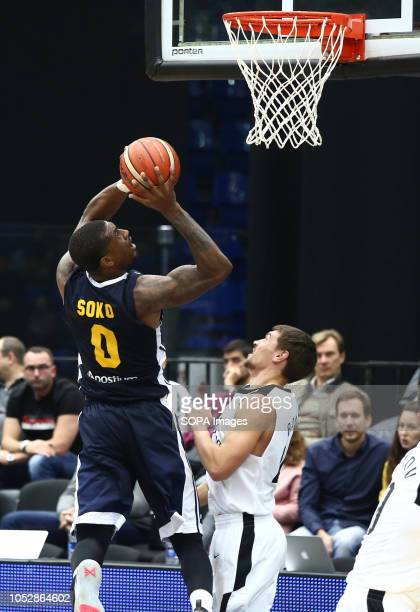 Evgenii Baburin and Ovie Soko seen in action during the game Basketball Champions League BC Nizhny Novgorod from Russia vs Ucam Murcia Club...