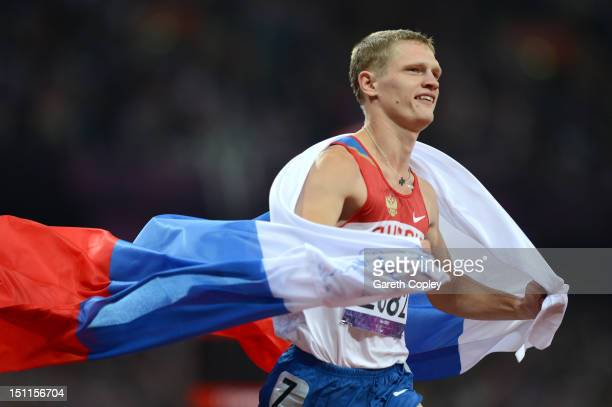 Evgenii Shvetcov of Russia ceelbrates winning gold in the Men's 100m T36 Final on day 4 of the London 2012 Paralympic Games at Olympic Stadium on...