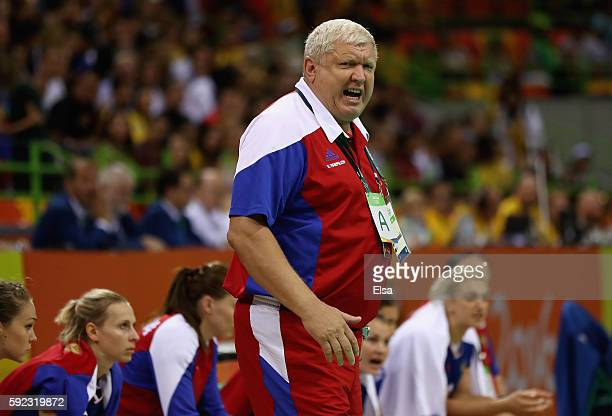 Evgenii Trefilov of Russia gestures during the Women's Handball Gold medal match between France and Russia at Future Arena on Day 15 of the Rio 2016...