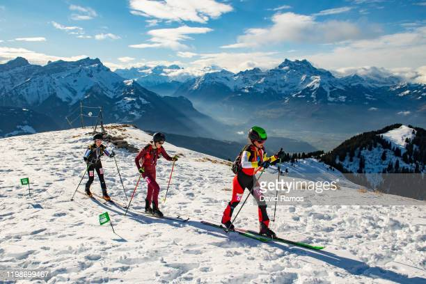 Evgeniia Dolzhenkova of Russia, Sophia Wessling of Germany and Maria Costa Diez of Spain compete in Women's Individual in Ski Mountaineering during...