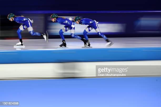 Evgeniia Lalenkova, Elizaveta Golubeva and Natalia Voronina of Russia compete in the Team Pursuit Ladies race during Day 2 of the ISU World Speed...