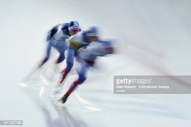 Evgeniia Lalenkova Elizaveta Kazelina and Natalia Voronina of Russia compete during the Women's Team Pursuit on day one of the ISU World Cup Speed...