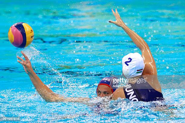 Evgeniia Soboleva of Russia is challenged by Dora Czigany of Hungary during the Women's Water Polo Bronze Medal match between Hungary and Russia on...