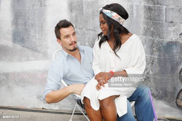 Evgenij Voznyuk and Motsi Mabuse attend the after show reception during the Riani Fashion Show Spring/Summer 2018 at Umspannwerk Kreuzberg on July 4,...