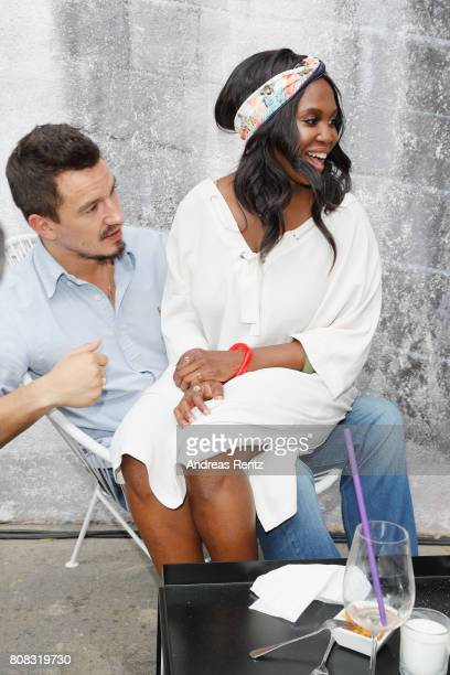 Evgenij Voznyuk and Motsi Mabuse attend the after show reception during the Riani Fashion Show Spring/Summer 2018 at Umspannwerk Kreuzberg on July 4...