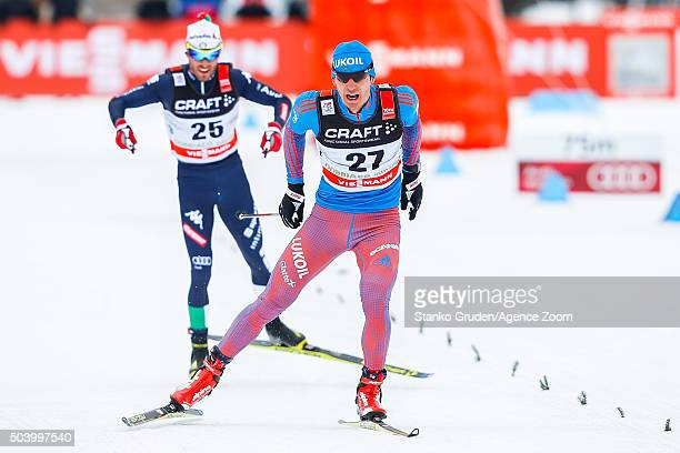 Evgeniy Belov of Russia competes during the FIS Nordic World Cup Men's and Women's Cross Country Tour de Ski on January 8 2016 in Toblach...