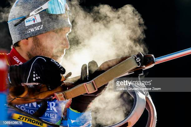 Evgeniy Garanichev of Russia in action during the IBU Biathlon World Cup Men's Sprint on December 7 2018 in Pokljuka Slovenia