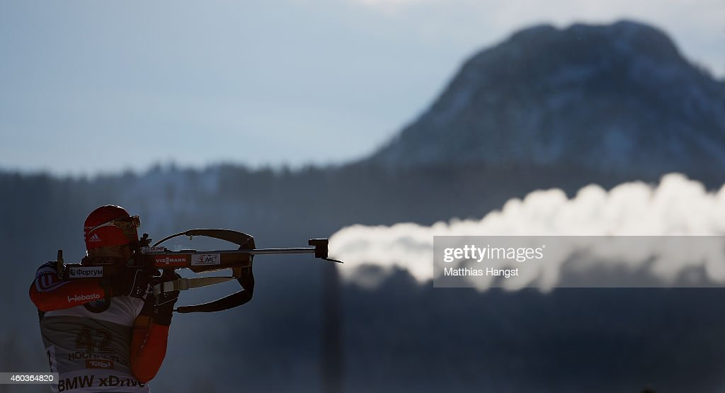 Evgeniy Garanichev of Russia in front of a smoking chimney at the zeoring for the men's 10 km sprint event during the IBU Biathlon World Cup on December 12, 2014 in Hochfilzen, Austria.