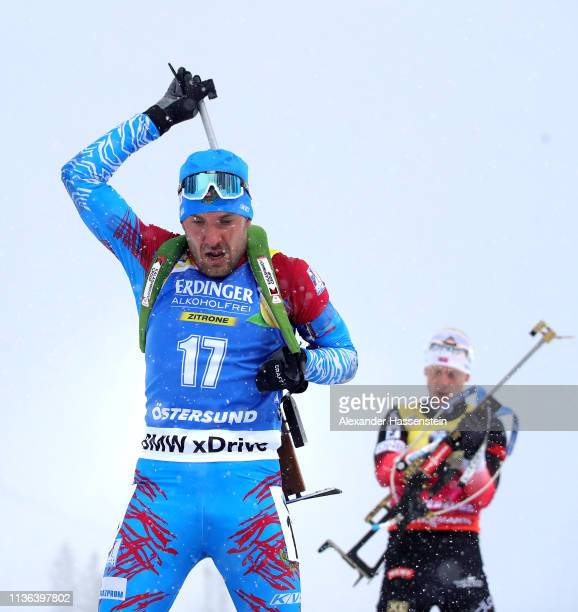 Evgeniy Garanichev of Russia makes his way away from the shooting range in the Men's Mass Start at the IBU Biathlon World Championships on March 17...