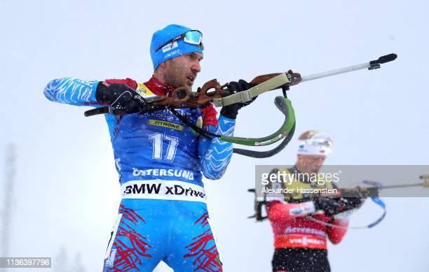 Evgeniy Garanichev of Russia shoots at the range in the Men's Mass Start at the IBU Biathlon World Championships on March 17 2019 in Ostersund Sweden