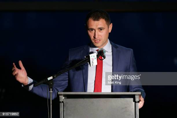 Evgeniy Zukin speaks during the Official Dinner ahead of the Fed Cup tie between Australia and Ukraine on February 8 2018 in Canberra Australia