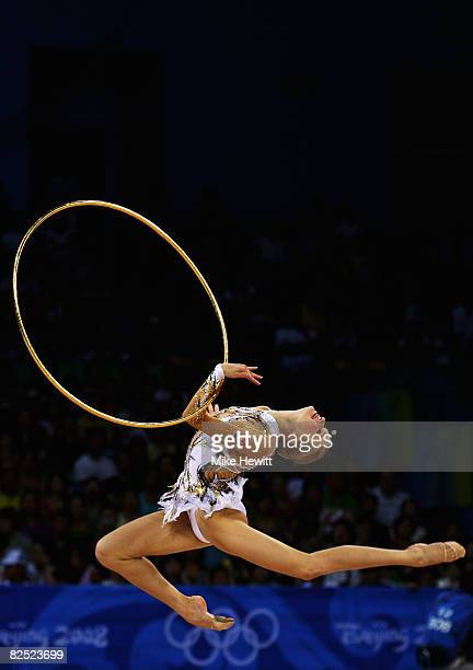 Evgeniya Kanaeva of Russia competes in the Individual AllAround final held at the University of Science and Technology Beijing Gymnasium on Day 15 of...