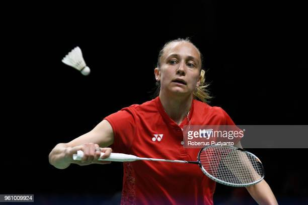 Evgeniya Kosetskaya of Russia competes against Sung Ji Hyun of Korea during Preliminary Round on day two of the BWF Thomas Uber Cup at Impact Arena...