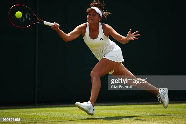Evgeniya Rodina of Russia returns a shot against Madison Keys of the United States during their Ladies' Singles third round match on day five of the...