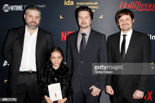 Evgeny Afineevsky Bana Alabed Sergi Zhuravskiy and Aaron I Butler at the 33rd Annual IDA Documentary Awards at Paramount Theatre on December 9 2017...