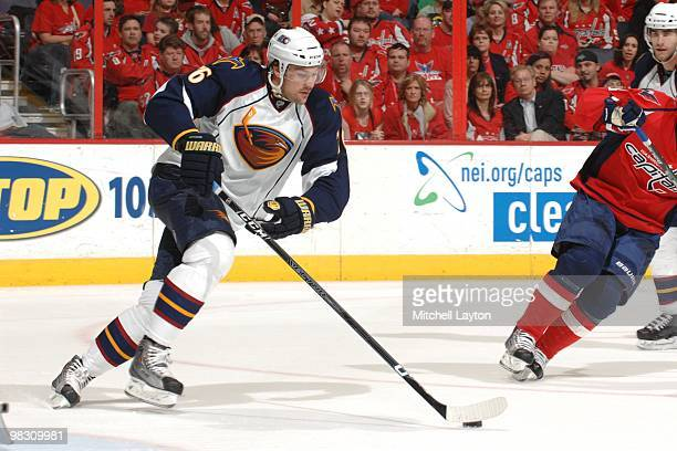 Evgeny Artukhin of the Atlant Thrashers skates with the puck during a NHL hockey game against the Washington Capitals on April 1 2010 at the Verizon...