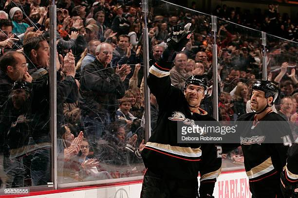 Evgeny Artyukhin of the Anaheim Ducks celebrates a first period goal against the Calgary Flames during the game on January 17 2010 at Honda Center in...