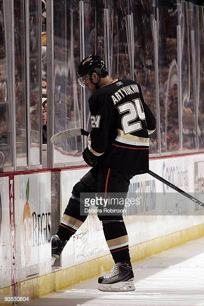 Evgeny Artyukhin of the Anaheim Ducks goes to the penalty box during the game against the Phoenix Coyotes on November 29 2009 at Honda Center in...