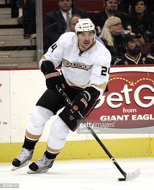 Evgeny Artyukhin of the Anaheim Ducks handles the puck against the Pittsburgh Penguins at Mellon Arena on November 16 2009 in Pittsburgh Pennsylvania...
