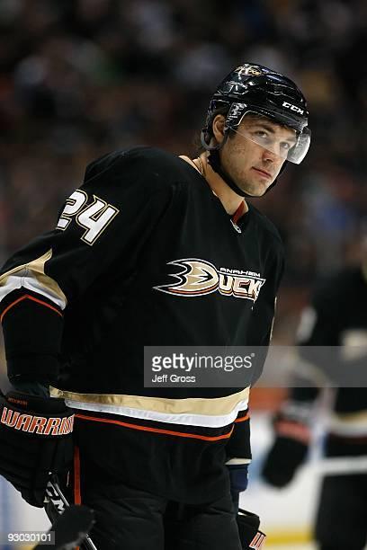 Evgeny Artyukhin of the Anaheim Ducks looks on against the Pittsburgh Penguins at the Honda Center on November 3 2009 in Anaheim California