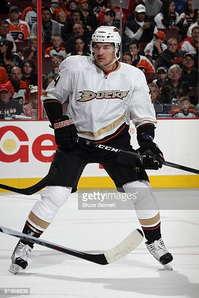 Evgeny Artyukhin of the Anaheim Ducks skates during the game against the Philadelphia Flyers at the Wachovia Center on October 10 2009 in...