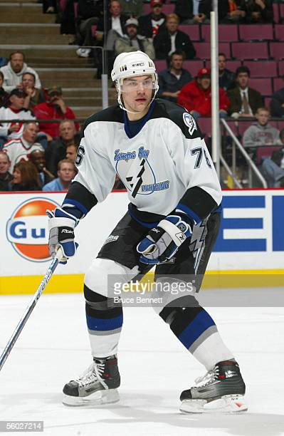 Evgeny Artyukhin of the Tampa Bay Lightning looks on during a game against the New Jersey Devils at the Continental Airlines Arena on October 26 2005...