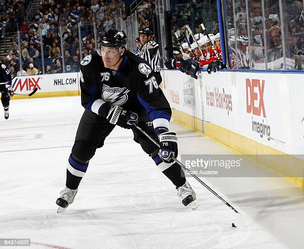 Evgeny Artyukhin of the Tampa Bay Lightning shoots the puck against the Florida Panthers at the St Pete Times Forum on January 17 2009 in Tampa...