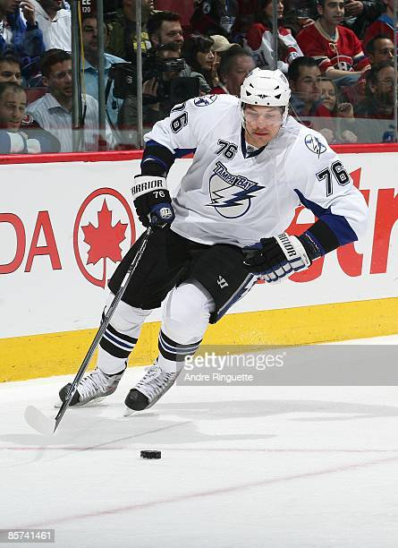 Evgeny Artyukhin of the Tampa Bay Lightning skates against the Montreal Canadiens at the Bell Centre on March 26 2009 in Montreal Quebec Canada