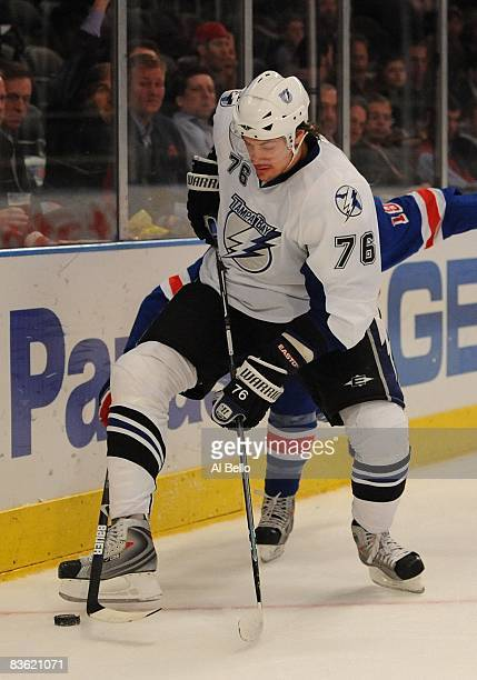 Evgeny Artyukhin of the Tampa Bay Lightning skates with the puck against The New York Rangers during their game on November 6 2008 at Madison Square...