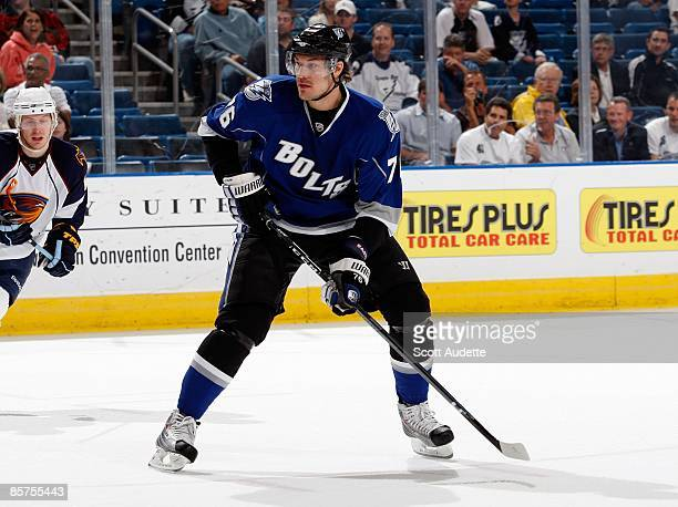 Evgeny Artyukhin of the Tampa Bay Lightning waits for the puck while playing against the Atlanta Thrashers at the St Pete Times Forum on March 21...