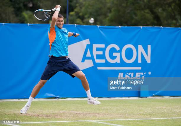 Evgeny Donskoy of Russia during his semi final match during the Aegon Ilkley Trophy on June 24 2017 in Ilkley England