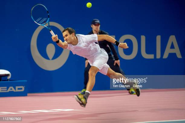 Evgeny Donskoy of Russia in action against Benoit Paire of France during the Open Sud de France Tennis Tournament at the Sud de France Arena on...