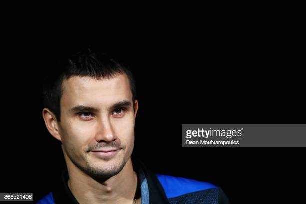 Evgeny Donskoy of Russia looks on prior to playing against Kyle Edmund of Great Britain during Day 2 of the Rolex Paris Masters held at the...