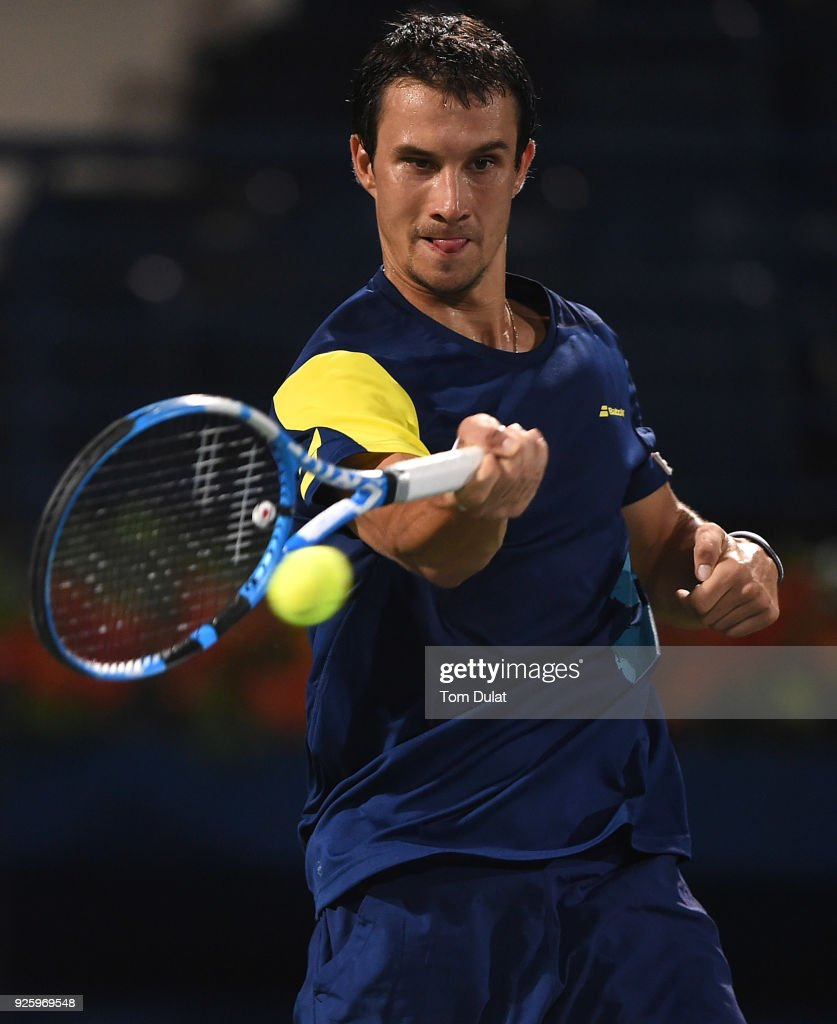 Evgeny Donskoy of Russia plays a forehand during his quarter final match against Filip Krajinovic of Serbia on day four of the ATP Dubai Duty Free Tennis Championships at the Dubai Duty Free Stadium on March 1, 2018 in Dubai, United Arab Emirates.