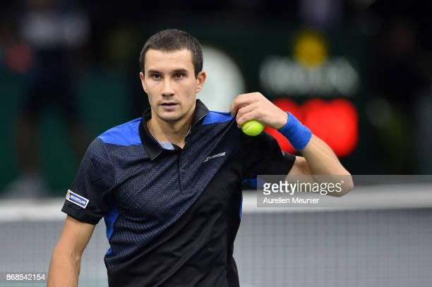 Evgeny Donskoy of Russia reacts in the men's singles first round match against Kyle Edmund of Great Britain during day two of the Rolex Paris Masters...