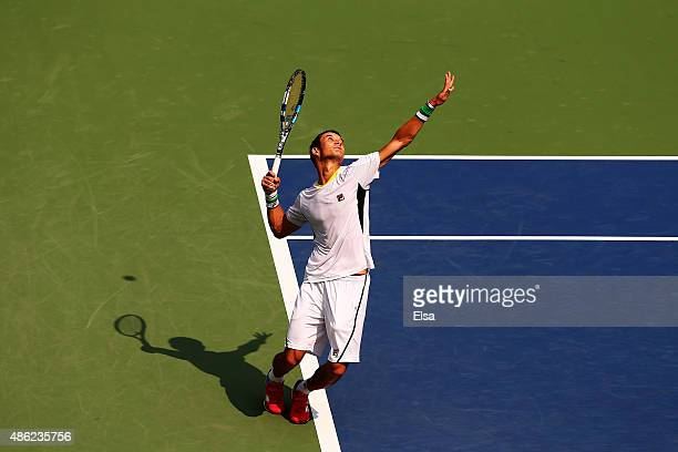 Evgeny Donskoy of Russia serves during his Men's Singles Second Round match against Marin Cilic of Croatia on Day Three of the 2015 US Open at the...