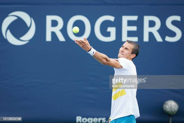 Evgeny Donskoy serves the ball during his first round match of the Rogers Cup tennis tournament on August 6 at Aviva Centre in Toronto ON Canada