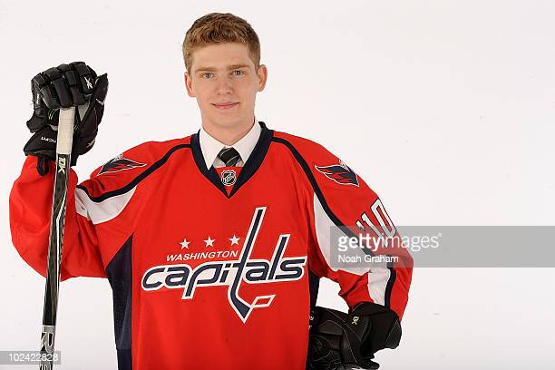 Evgeny Kuznetsov drafted 26th overall by the Washington Capitals poses during the 2010 NHL Entry Draft at Staples Center on June 25 2010 in Los...