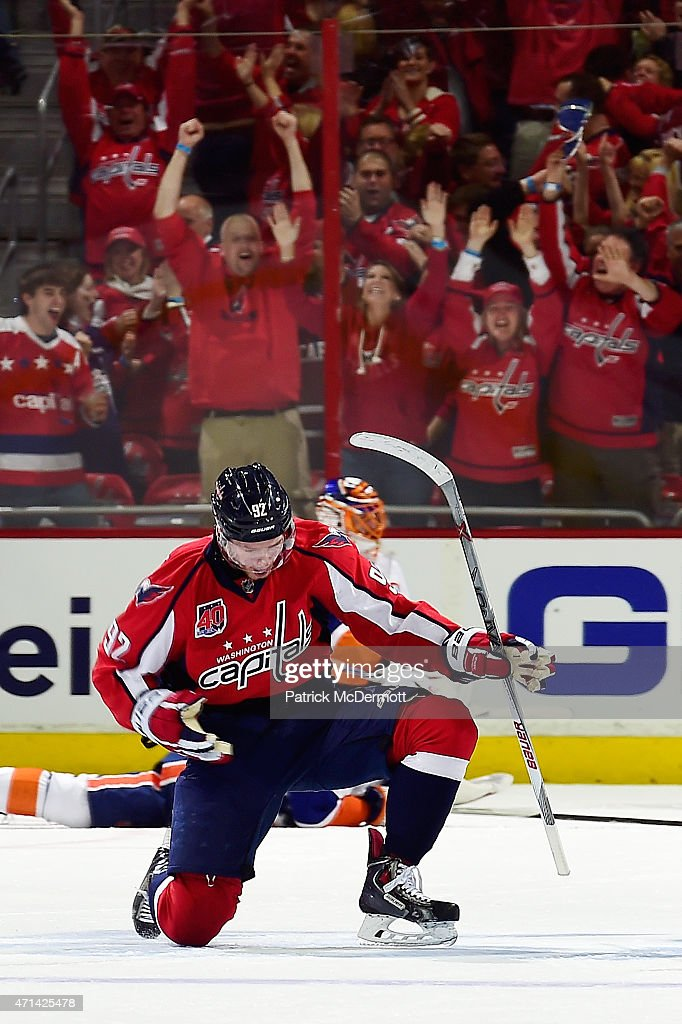 Evgeny Kuznetsov #92 of the Washington Capitals celebrates afer scoring the game winning goal in the third period against the New York Islanders in Game Seven of the Eastern Conference Quarterfinals during the 2015 NHL Stanley Cup Playoffs at Verizon Center on April 27, 2015 in Washington, DC. The Capitals defeated the Islanders 2-1 to win the series 4 games to 3.
