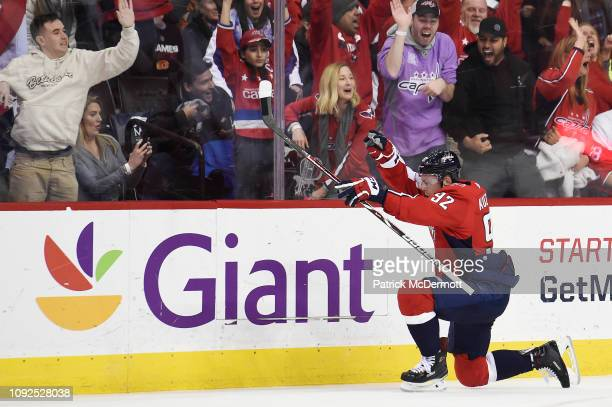 Evgeny Kuznetsov of the Washington Capitals celebrates after scoring a goal in the third period against the Calgary Flames at Capital One Arena on...