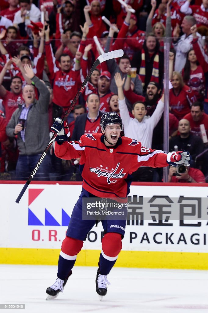 Evgeny Kuznetsov #92 of the Washington Capitals celebrates after scoring his first goal of the game in the first period against the Columbus Blue Jackets in Game One of the Eastern Conference First Round during the 2018 NHL Stanley Cup Playoffs at Capital One Arena on April 12, 2018 in Washington, DC.