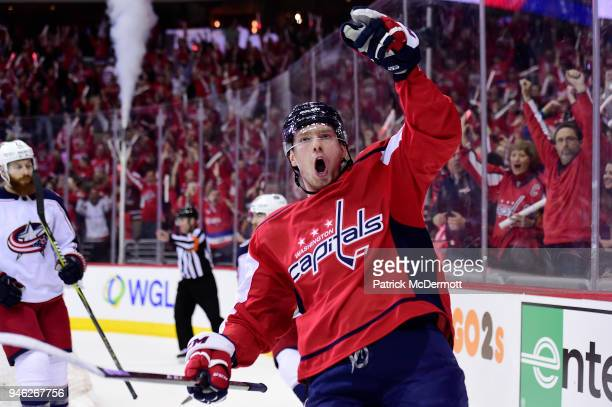 Evgeny Kuznetsov of the Washington Capitals celebrates after scoring his second goal of the game in the first period against the Columbus Blue...
