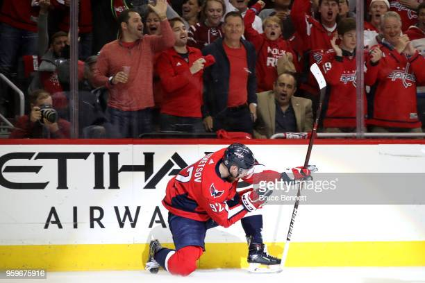 Evgeny Kuznetsov of the Washington Capitals celebrates after scoring a goal on Andrei Vasilevskiy of the Tampa Bay Lightning during the second period...