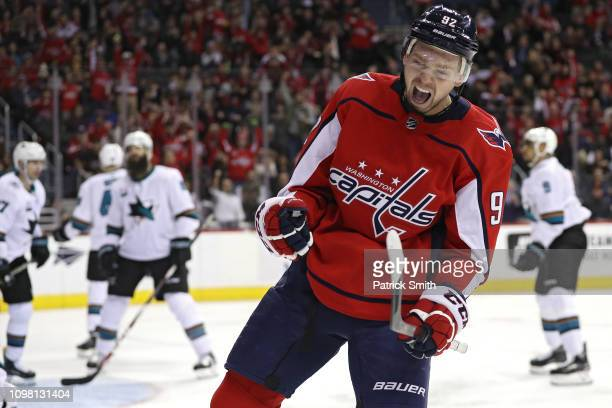 Evgeny Kuznetsov of the Washington Capitals celebrates his goal against the San Jose Sharks during the second period at Capital One Arena on January...