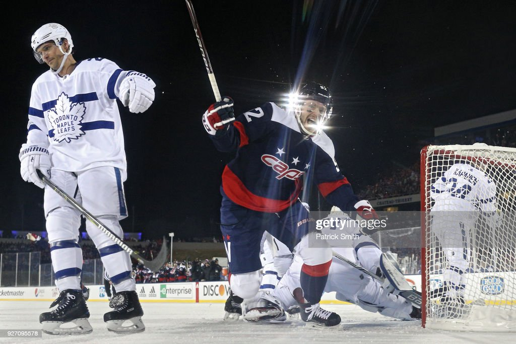 Evgeny Kuznetsov #92 of the Washington Capitals celebrates his goal against the Toronto Maple Leafs during the first period in the Coors Light NHL Stadium Series at Navy-Marine Corps Memorial Stadium on March 3, 2018 in Annapolis, Maryland.