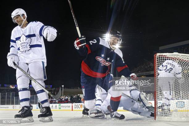 Evgeny Kuznetsov of the Washington Capitals celebrates his goal against the Toronto Maple Leafs during the first period in the Coors Light NHL...