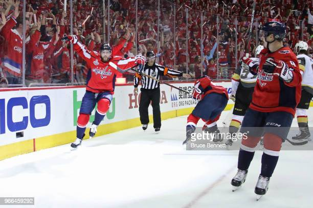 Evgeny Kuznetsov of the Washington Capitals celebrates his secondperiod goal against the Vegas Golden Knights in Game Three of the 2018 NHL Stanley...