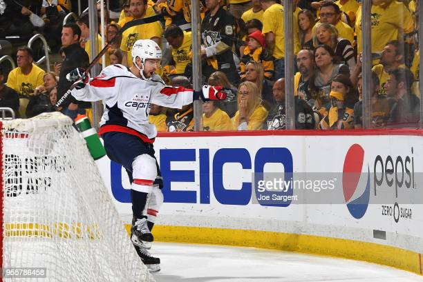 Evgeny Kuznetsov of the Washington Capitals celebrates his overtime goal against the Pittsburgh Penguins in Game Six of the Eastern Conference Second...
