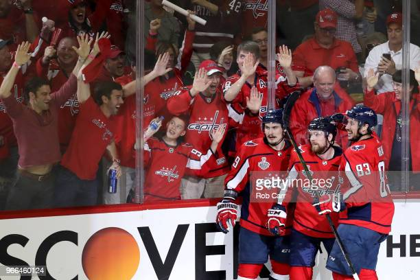 Evgeny Kuznetsov of the Washington Capitals celebrates with his teammates after scoring a goal against MarcAndre Fleury of the Vegas Golden Knights...